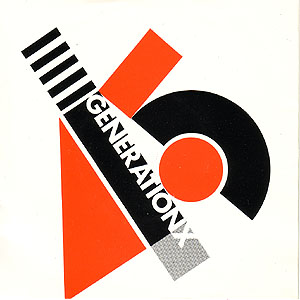Black, red and grey construction with 'Generation X' in bold white text