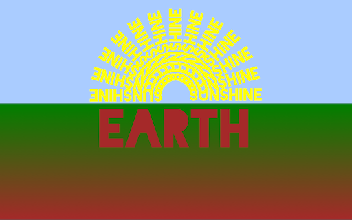 Pale blue sky with yellow sun made from the word 'sunshine' repeated 13 times; green earth fades to brown with 'earth' in large brown letters