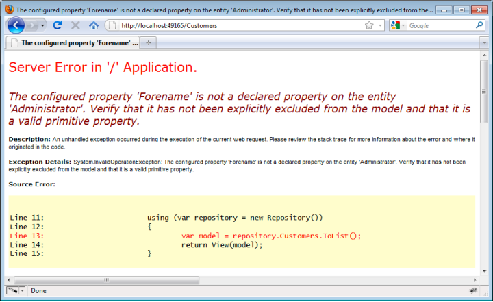 "Yellow screen of death: ""The configured property 'Forename' is not a declared property on the entity 'Administrator'. Verify that it has not been explicitly excluded from the model and that it is a valid primitive property."""