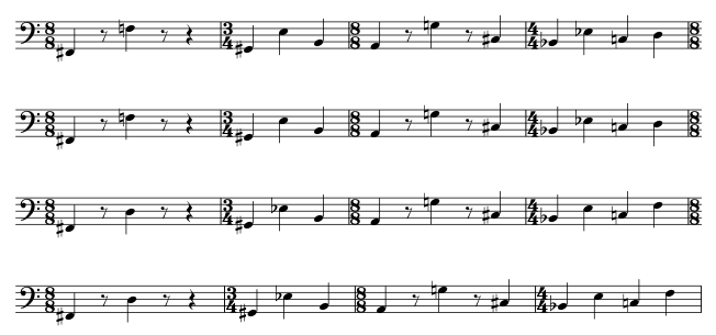 Bassline. Two 4-bar phrases repeated