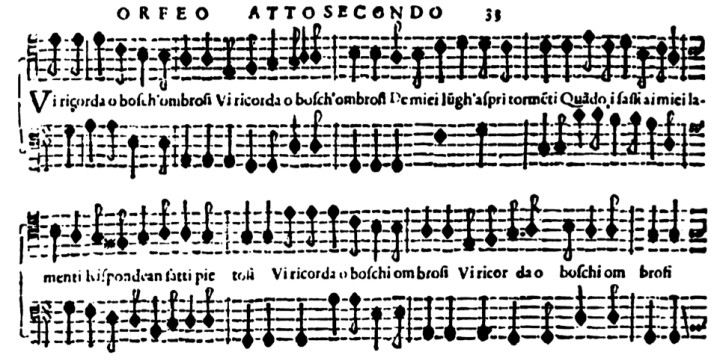 Musical example illustrating the Anacreontic rhythm in 'Vi ricorda o boschi ombrosi' from Monteverdi's L'Orfeo
