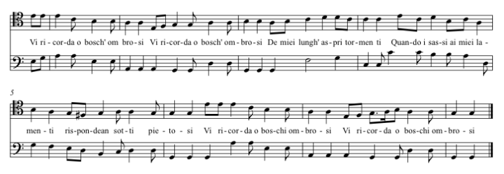 The same excerpt in modern notation