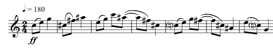 The entire first phrase. The two-bar syncopated rhythm is repeated slightly lower, and then finished with a falling anapaestic rhythm