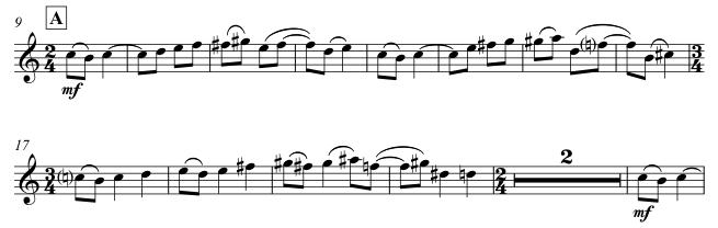 The rondo theme: two phrases is straight/anaclastic anapaestic dimeter, then a phrase in straight/anaclastic ionic dimeter