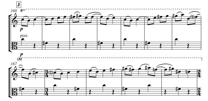 Rondo theme in solo violin and viola