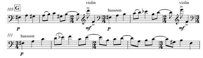 The Episode II theme in the bassoon (and violin) at [G]