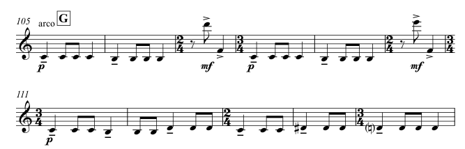 The rhythm shows two 3/4 bars, one 2/4 bar; two 3/4 bars, one 2/4 bar; two 3/4 bars with a hemiola; two 2/4 bars; one 3/4 bar