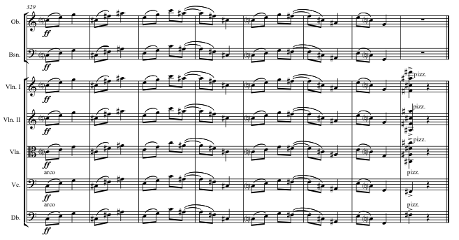 Opening theme brought back tutti as the coda.